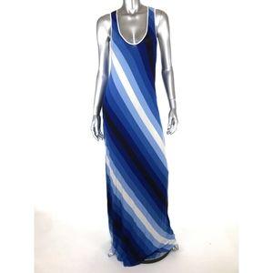 Calvin Klein Jersey Knit Maxi Dress Sz 14 Striped